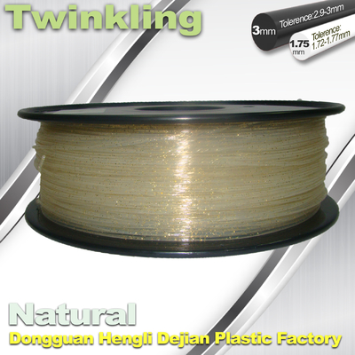 Cina ±0.03 Tolerance Roundness 3d Printing Filament 1.75 3.0mm Transparent Color pemasok