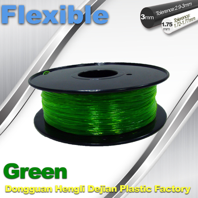 Green 0.8kg / Roll Flexible 3D Printer Filament Environmentally Friendly
