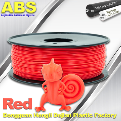 Multi Color 1.75mm / 3mm ABS 3D Printer Filament Merah Dengan Elastisitas Bagus
