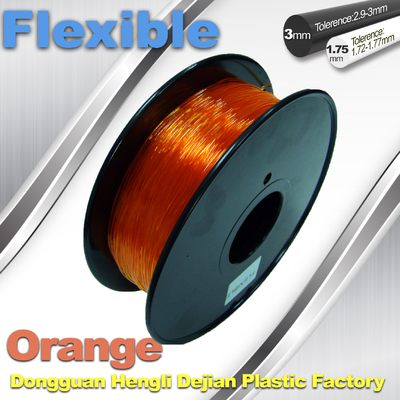 Orange 3.0mm / 1.75mm Rubber  Flexible 1.0KG / Rolls 3D Printer Filament