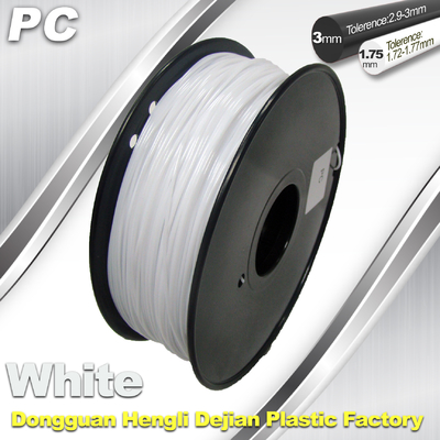 1.75 / 3,0 mm PC Filament White untuk RepRap, Cubify 3D Printer Filament